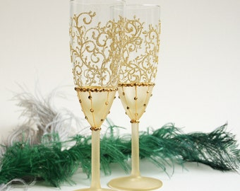 Gold Wedding Glasses, Champagne Glasses Toasting Flutes, Set of 2