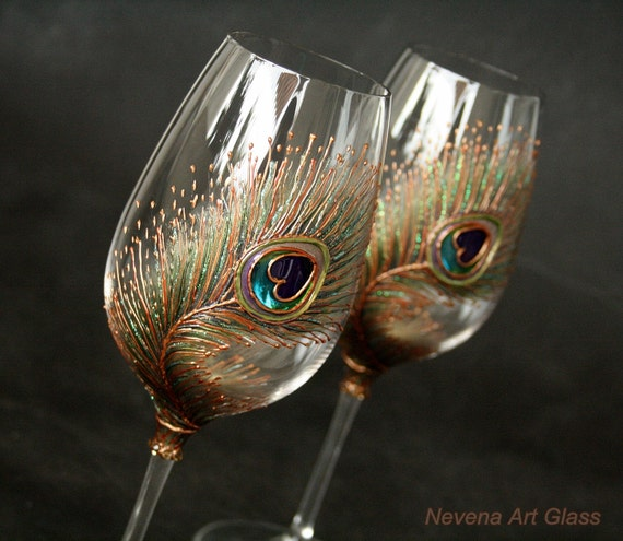 Peacock Wine Glasses, Hand Painted , Wedding Glasses, Toasting Glasses, Anniversary Glasses, Wedding Gift, Set of 2