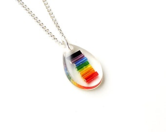 Rainbow Necklace, Multicolour Resin Pendant, Rainbow Jewellery, Resin Jewellery, LGBT, Gay Pride, Bohemian Jewellery, UK, 2172