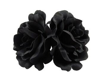 Black Silk Rose flower Barrette Hair Clip