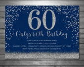 Silver Glitter Birthday Party Invitations, Printable File, Adult Invitation, Navy and Silver Invitation, 20th, 30th, 50th, 60th, 70th