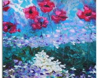 Hydrangeas and poppies  - Original blue red white turquoise Floral Oil Painting Canvas Palette Knife gallery fine art ready to hang impasto