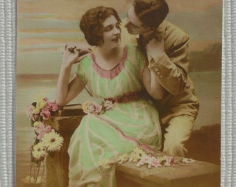 Romantic French Postcard - 'Love Me Well!'  Couple Getting Close