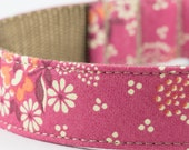 Dusty Rose Floral Dog Collar