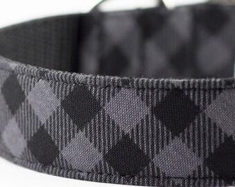 Charcoal Buffalo Plaid Dog Collar