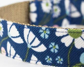 Blue Floral Corduroy Dog Collar