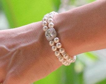 Pearl and Crystal Bracelet, Pearl Bridal Bracelet, Pearl Bridesmaids Bracelet, Square Crystal Bracelet, ERICA