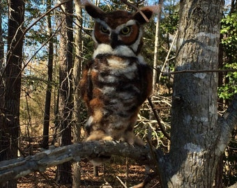 Great Horned Owl Needle Felted Sculpture