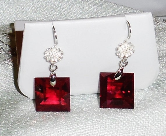 53 cts Natural Square Red Topaz gemstones, SOLID Sterling Silver Pierced Earrings