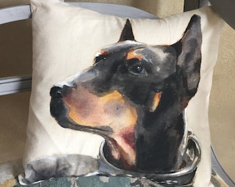 Hand Painted Pet Pillow • Custom Pet Portrait • Dog Portrait Pillow • Original Pet Painting on Pillows • 12x12 Size Pillow • Made to Order