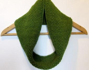 Cowl Infinity Scarf in Olive Green Alpaca Wool