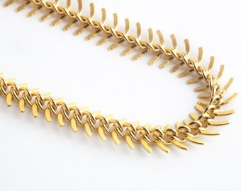 Gold Fishbone Necklace-Statement Necklace, Gold Necklace, Chunky Necklace, Fishbone Jewelry, Statement Jewelry
