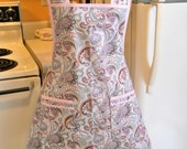 Old Fashioned Vintage Style Full Apron in Gray and Pink
