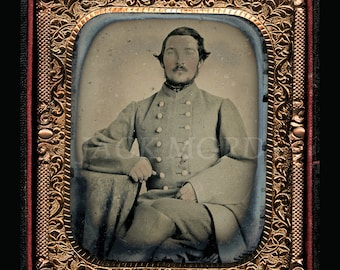 Confederate Civil War Soldier ~ 1/6 Ambrotype ~ Virginia Cavalry Officer