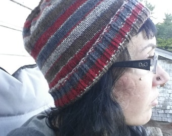 Knit Hat Beanie Cap Blue Brown and Red Striped
