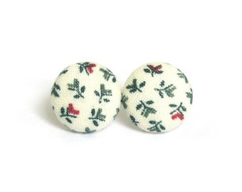 Present for her - beige green floral earrings - spring earrings - bright button earrings - tiny cute fabric earrings - vintage style