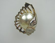 1940s Sterling Silver Nautilus Shell Pearl Brooch.  Frederick Persall Marslieu Imperial Pearl Co. Gold Plated. Pave Crystals Pat 146679
