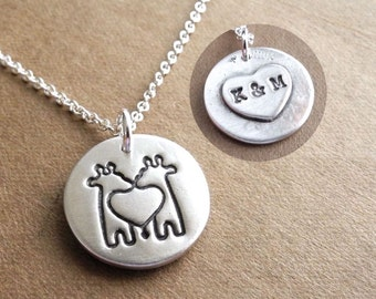 Personalized Small Twin Giraffe Necklace, Heart Monogram, Mom of Twins, New Mom, Fine Silver, Sterling Silver Chain, Made To Order