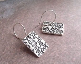 Silver Flowering Vine Earrings, Fine Silver, Argentium Sterling Silver Ear Wires, Ready To Ship