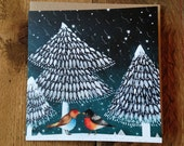 Bird Love | Square Greeting / Christmas Card / blank inside
