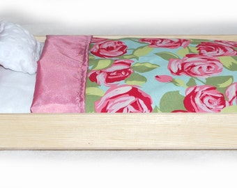Doll Bed - Rose Garden - Fits 18 inch dolls and AG dolls - American Girl Furniture