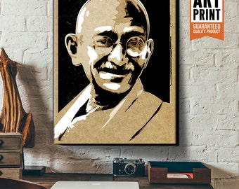 Portrait of inspirational leader Gandhi, Canvas, Art Print, Poster size art available in 18x24, 24x36 or 36x48