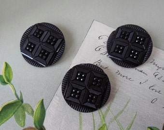 """3 Matching Large Victorian Black Glass Buttons 1.1/8"""""""