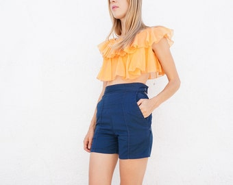 Shorts High Waist Blue Cotton Sz. 26.5