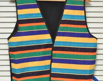 Vintage Guatemalan Style Women's Men's Vest/Bright Yellow Blue Green Orange Horizontal Stripes/Black/Cotton/Stubbed Linen/90s/Open Loose fit