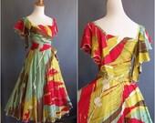 Holly's Harp dress, small/medium, vintage wrap dress Holly Harp tropical 1980s dress,  silkscreened fabric, screenprint fabric, hand painted