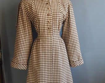 1940s wool gingham princess coat brown and white dramatic shoulders fitted coat fit and flare coat 1940s coat 40s coat