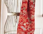 Landscape scene on red, vintage Japanese wool kimono scarf