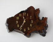 Vintage Burl Wood Wall Clock