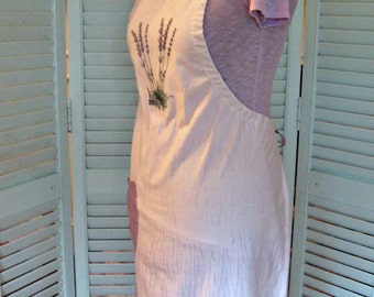 Shibori Hand Dyed Flour Sack Apron-All Adjustable-Lavender-One Size Fits Most