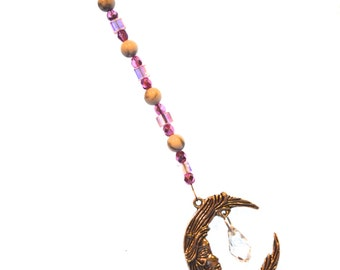 Ornament Moon & Crystal Ornament Light Pink Hanging Beaded Crystal Feng Shui Sparkles Crescent Moon