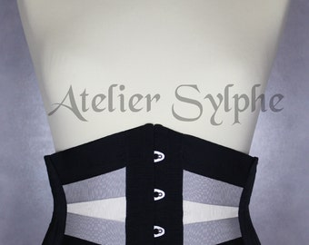 26 inches waist size Ribbon underbust corset boned cinched ivory grey black waist cincher 26 inches waist size