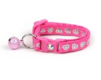 Diamond Cat Collar -Shining Diamonds on Pink -Small Cat / Kitten Size or  Large Size Collar