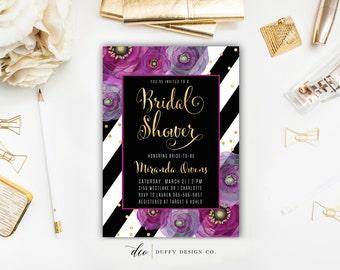 Bridal Shower Invitation, Bridal Brunch Invite, Wedding Shower Invitation, Bridal Shower Invite, Purple Lavender Gold Black Stripe Invite