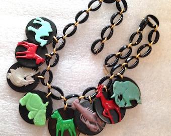 Vintage bakelite art deco animals necklace - bakelite style