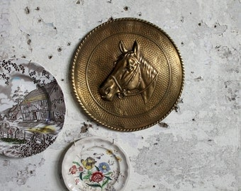 Vintage Brass Horse Embossed Wallhanging