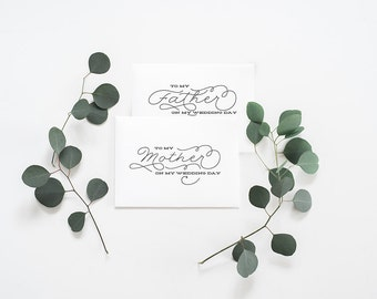 2-PACK - To My Parents on my Wedding Day Cards - Wedding Card, Day of Wedding Cards,Mother Wedding Card,Father Wedding Day Card -004