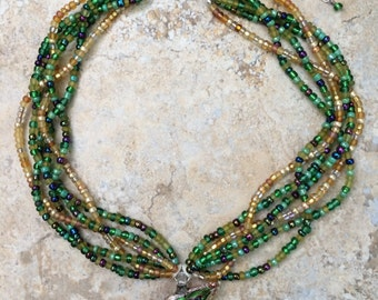 Braided Ocean Green and Gold Seed Bead Necklace with Glass FishPendant
