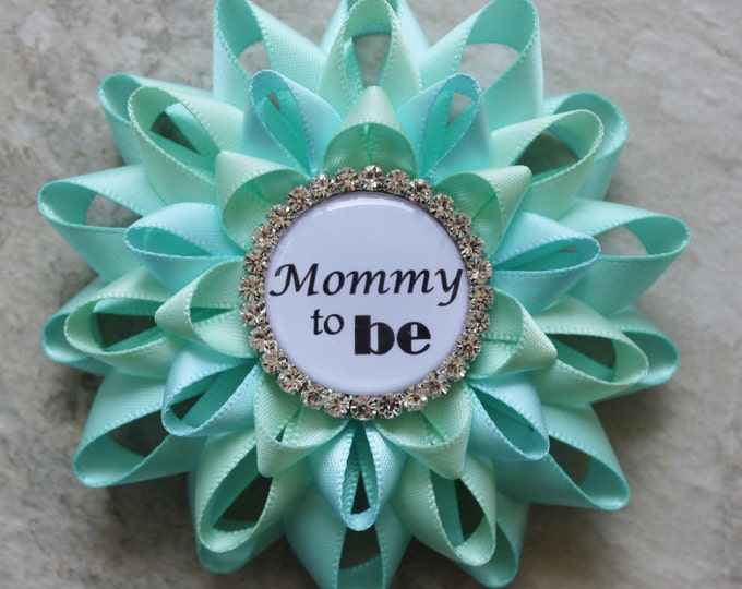 Mommy to Be Pin, Grandma to Be Pin, New Aunt to Be Pin, Nana to Be, Baby Shower Corsage, Aqua Baby Shower Decorations, Aqua Blue, Pale Green