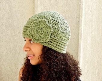 Crochet Beanie, Cloche Hat, Adult, Crochet Flower Hat, Color is Fern