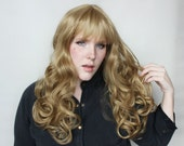 Long Blonde wig | Curly wig | Natural Realistic wig for daily wear, alopecia wig, and more | Beach Hair Blonde wig with bangs | Amber Shore