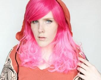 SALE Pink wig | Long Wavy Pink Scene wig with bangs | Gradient Pink Kawaii Cosplay wig | Pink Sugar Bliss
