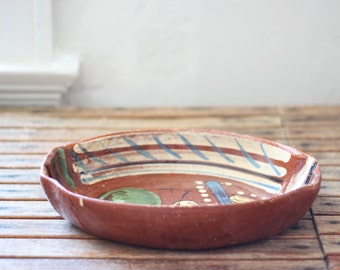vintage Mexican pottery serving dish