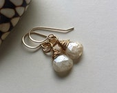 White Gemstone Drop Earrings, Silverite Drops, Tiny White Gemstone Earrings, Minimalist Gemstone Dangle, Bridal Gemstone Earrings