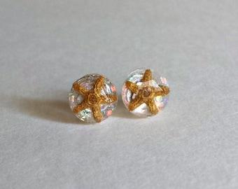 Resin Starfish Stud Earrings, Real Starfish Earrings, Glitter Resin Studs, Mermaid Stud Earrings, Sea Star Jewelry