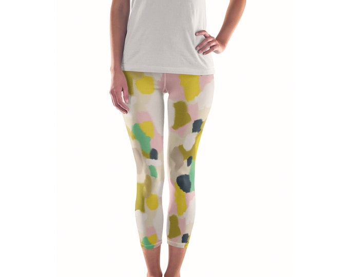 Morninglight Artist Leggings // ethical bold stylish yoga pants designer leggings and capris in abstract painted patterns by lisa barbero
